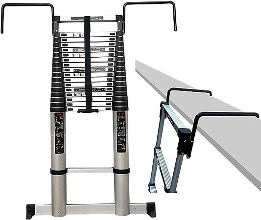 Qiangmei Escaleras Plegables Aluminio Escalera Telescópica 5.0m / 16.4ft - Escalera Extensible De Escalera De Aluminio For Uso De Loft De Oficina Doméstica Carga Máxima 330 LB (150 Kg) Taburete: Amazon.es: Hogar