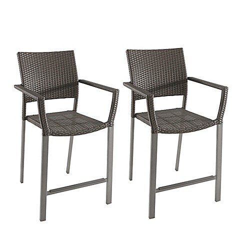 "Modern Square Stacking Balcony Chairs in Slate (Set of 2) - (23"" W x 42.5"" L x 23.6"" D) Durable Rust-Resistant Steel Frame"