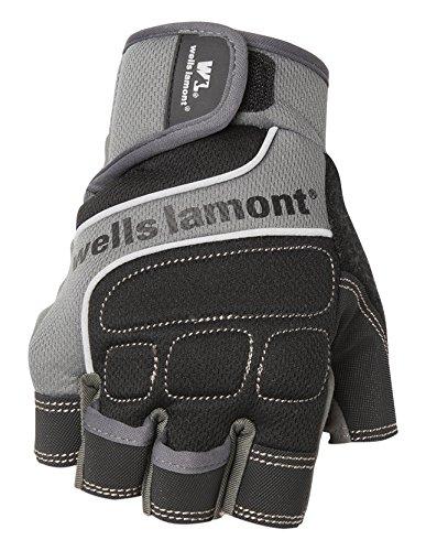 - Wells Lamont Men's Fingerless Synthetic Leather Work Gloves, Grey, Medium (841GM)