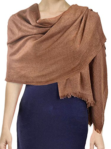Simplicity Lightweight Fringe Modal Cashmere Large Scarf Oblong Wrap, Earthy Yel