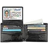 Wallet for Men-Genuine Leather RFID Blocking Bifold Stylish Wallet With 2 ID Window (Wax Black)
