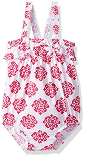 Swimsuit One Infant Ruffle Piece (Hatley Baby Girls' Ruffle Swimsuit, Henna Floral, 3-6M)