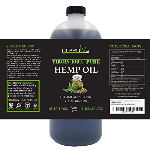 51pFRWlwemL - GreenIVe - Hemp Oil 910,000mg - Anti-Inflammatory - Vegan Omegas - Cold Pressed - Exclusively on Amazon (32 Ounce)