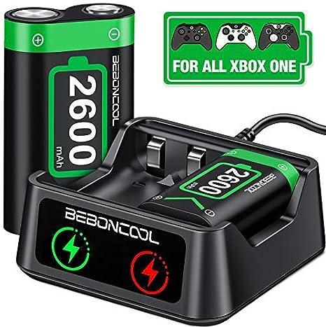 BEBONCOOL - Batería recargable para mando de Xbox One / One / One S / One X / One Elite (2 x 2600 mAh): Amazon.es: Videojuegos