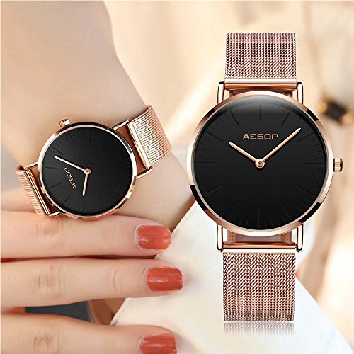 Ultra Thin Watches for Women,Rose Gold Ladies Watch Water Resistant Mesh Band Luxury Sports Womens Watches Analog Japanese Quartz Wrist Watches Female Watches on Sale,Black Dial,Big Face,AESOP Brand by XIN LINGYU (Image #2)