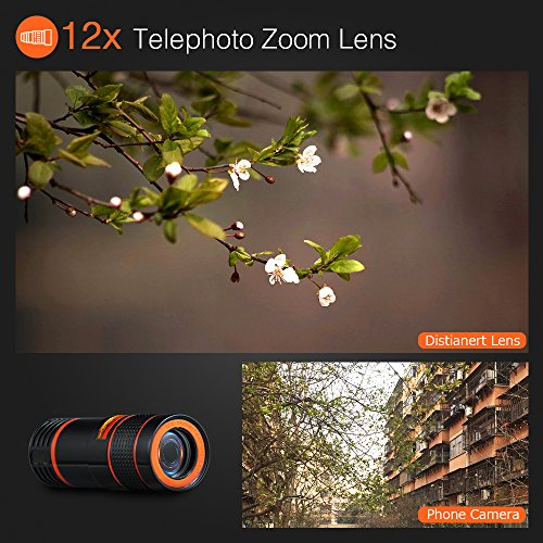 6-in-1 Cell Phone Camera Lens Kit, 12x Telephoto Zoom Lens, 0.62x Wide Angle & 20x Macro, 235° Fisheye, Starburst, and Professional CPL Lens+ Phone Holder & Tripod for iPhone X/8/7/6/6s Plus, Android, by Distianert (Image #1)
