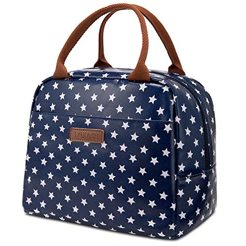 LOKASS Lunch Bag Cooler Bag Women Tote Bag Insulated Lunch Box Water-resistant Thermal Lunch Bag Soft Liner Lunch Bags for women/Picnic/Boating/Beach/Fishing/Work (Blue+Star) ()