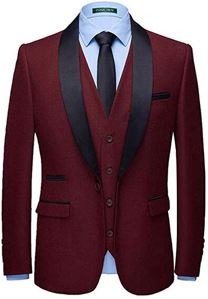 Mens One Buttons 3 PC Wedding Suits Shawl Lapel Groom Tuxedos Prom Party Suits Dinner Suit
