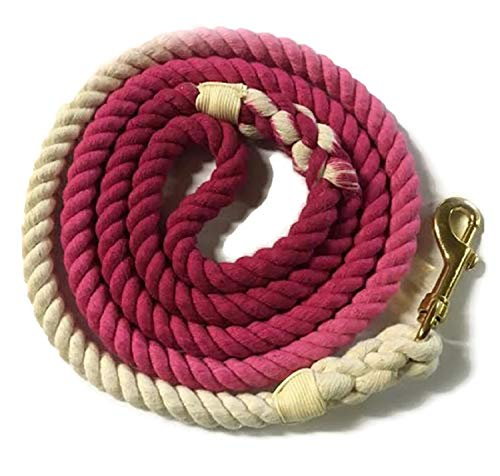 Sier 5ft Multi-Colored Braided Ombre Cotton Heavy Duty Strong Durable Rope Dog Leash (Rose Pink) (Dog Leash Braided Pink)