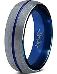 Tungsten Wedding Band Ring 6mm for Men Women Blue Silver Domed Brushed Lifetime Guarantee
