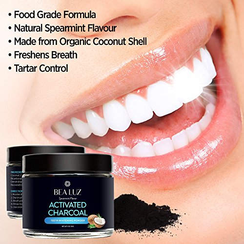 Teeth Whitening Activated Charcoal Powder – From Organic Coconut Shell and Food Grade Formula – All Natural Spearmint Flavor Tooth Whitener (5G) by Gemmaz (Image #3)'