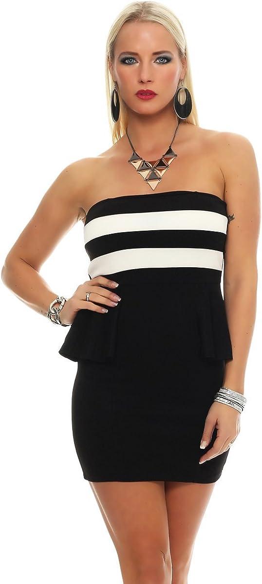 Fashion4Young 5609 Damen Bandeau Minikleid Stretch Kleid Partykleid schulterfrei Dress 6 Farben