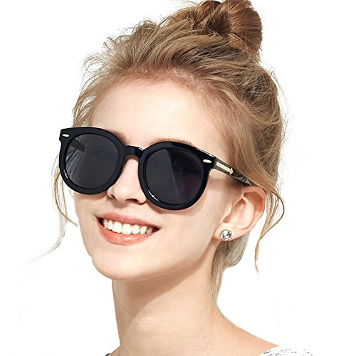 Oversized Sunglasses for Women, BLUEKIKI YEUX Vintage Women Sunglasses Polarized Round Mirror(Black, - Glasses Best Face Round