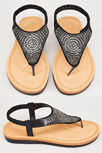 Wide Fit Women's Nude & Diamante Embellished Open Toe Sandals In True Eee Fit Black 14bTTygs