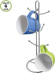 Evelots Mug Holder/Tree/Rack-Sturdy Chrome Metal-Holds 6 Cups-Jewelry Holder