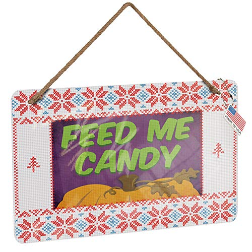 NEONBLOND Metal Sign Feed Me Candy Halloween Pumpkin Top Vintage Christmas Decoration -
