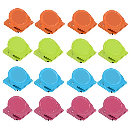 EWAYY Binder Clips Paper Clamps Magnetic All-Purpose Clips Magnetic Metal Clips 16 Packs Colorful Heavy Duty Refrigerator Whiteboard Wall Stainless Steel Clip For Kitchen Home Office Usage