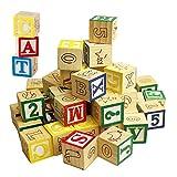 Wooden ABC 123 Building Blocks Kids Alphabet Letters Numbers Bricks Toy Set (ABC and 123 Blocks)