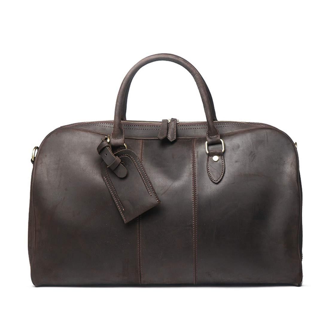 RABILTY Mens Leather Travel Bag Crazy Horseskin Shoulder Messenger Bag Large Capacity Duffel Bag Color : Dark Brown
