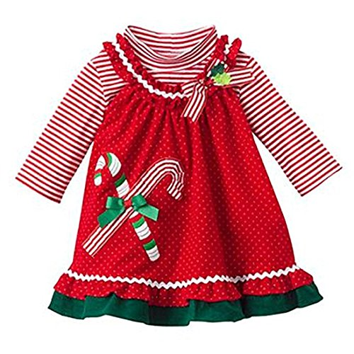 (Rare Editions 4-6X Candy Cane Ruffle Jumper Set Red 6)