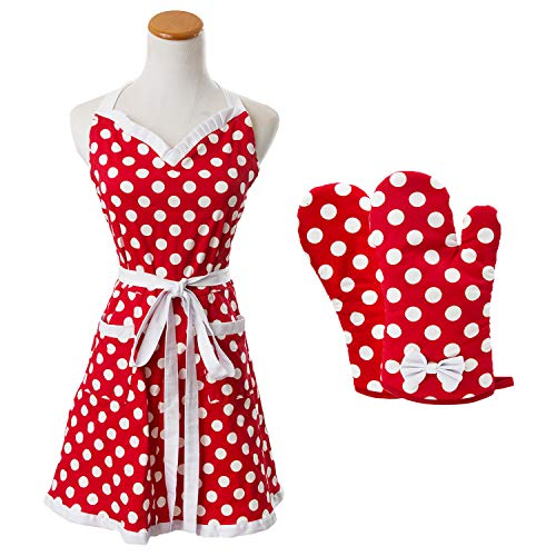 Houseables Polka Dot Apron, Red & White, Retro, Adjustable, One Size, w/Oven Mitts, Cotton, Kitchen Dress w/Pockets…