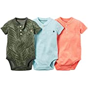 Carter's Baby Boys' 3-Pack Short-Sleeve Bodysuits, Multi, 3 Months