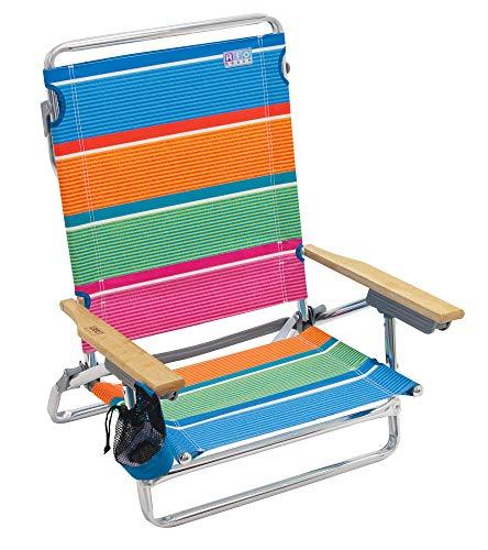 Rio Beach Classic 5-Position Lay-Flat Folding Beach Chair - Stripe