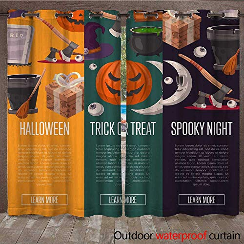 RenteriaDecor Outdoor Curtains for Patio Sheer Halloween Party Cartoon Flyers Set W72 x L108