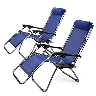 XtremepowerUS Zero Gravity Adjustable Reclining Chair Pool Patio Outdoor Lounge Chairs w/ Cup Holder - Set of Pair (Navy)