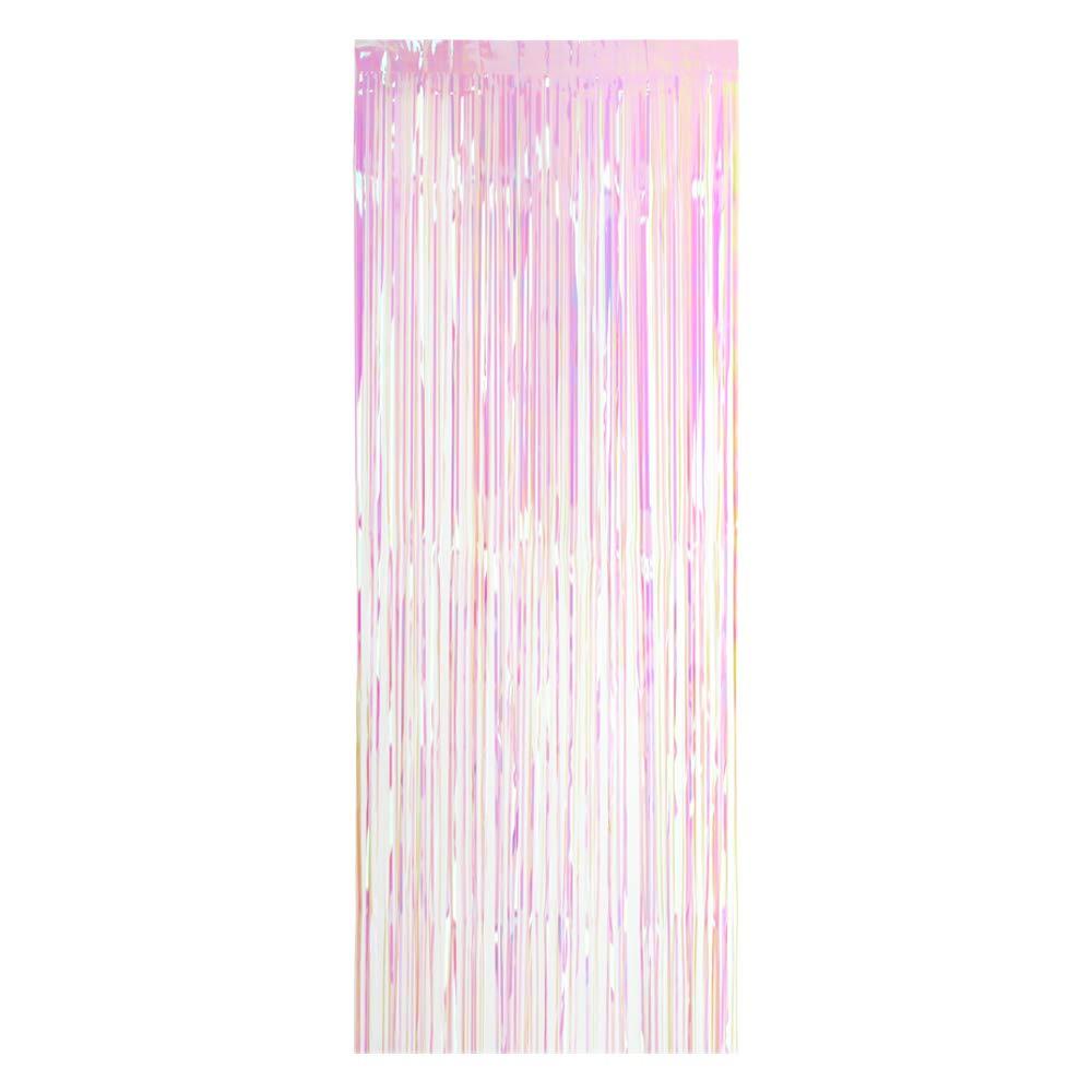 Decdeal 100 * 200cm Métallisé Feuille Frange Rideau Tinsel Shimmer Fenêtre Porte Rideau Mur Toile de Panneau Décoration Mariage Fête de Noël