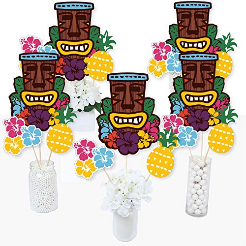 Tiki Luau - Tropical Hawaiian Summer Party Centerpiece Sticks - Table Toppers - Set of 15