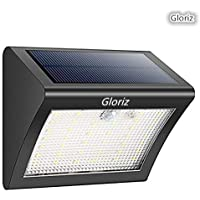 Foco Solar, Gloriz Luces Solares 1500mAH 38 LED 3 Modos lámparas solares de pared Impermeable IP65, Luz de solar, Luces de Exterior con Sensor de Movimiento Batería Solar Exterior para Jardín, Patio, Camino, Escalera