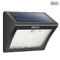 Foco Solar, Gloriz Luces Solares 38 LED 3 Modos lámparas solares de pared Impermeable IP65, Luz de solar, Luces de Exterior con Sensor de Movimiento Batería Solar Exterior para Jardín, Patio, Camino, Escalera