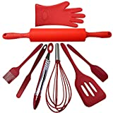 8 Piece Kitchen Utensil Set Red | Cooking And Baking Kit | High Temperature | Highest Quality Food Grade Silicone | Dishwasher Safe | Great On Non-Stick Pans | By Max Designs