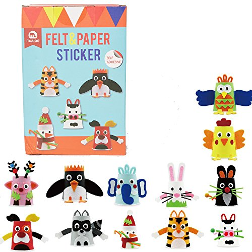Mobee Felt and Paper Cup Sticker with 12 Cups DIY Craft Kits Paper Art Training Early Educatioanl Playing Toys for Kids, Age 3+