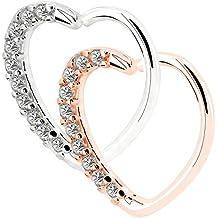 OUFER 2Pieces 18KT Rose Gold Clear Heart Daith Earrings Cartilage Earring Hoop 16Gauge (1.2mm)