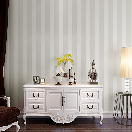 (HANMERO Modern Simplicity Off White Wide Vertical Stripes Flocked Nonwoven Wall paper Roll Murals Living/Bedroom/TV Backdrop 0.53 x 10m =5.3㎡(57sq Feet) Home)