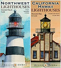 Lighthouses In Oregon Map.Pacific Coast Lighthouses Map Pack California Oregon Washington