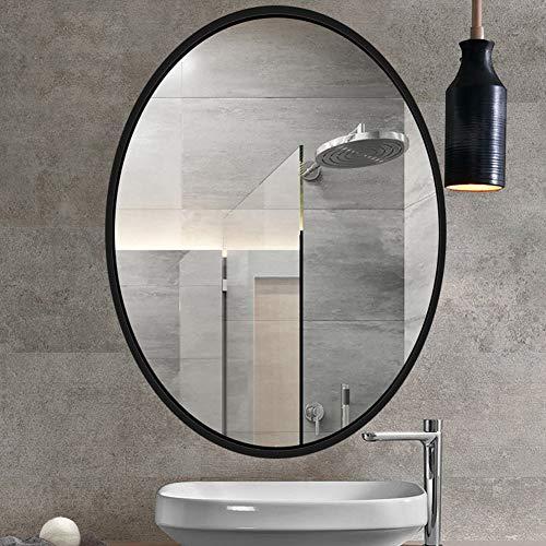 Modern Oval Bathroom Mirror Wall Mirror, Wooden Frame Wall Mirror, Black Vanity -