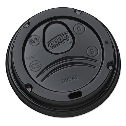 Dixie Drink-Thru Lids for 10-20 oz Cups, Plastic, Black - Includes ten packs of 100 each. (Dixie Perfectouch 20 Oz Lids compare prices)