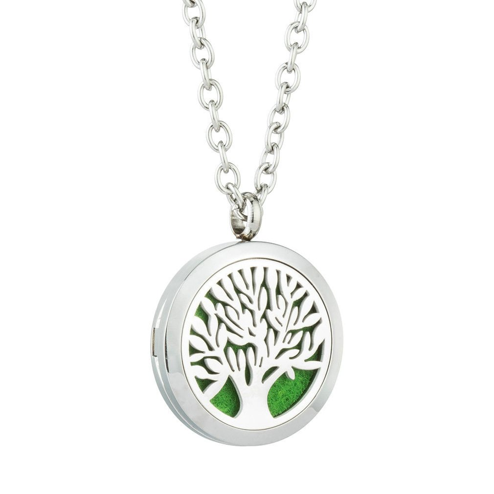 JAOYU Essential Oil Diffuser Necklaces for Women Stainless Steel Locket Pendant Floating Charm - Tree Jewelry JYPD217