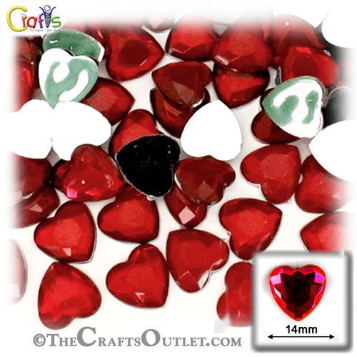 The Crafts Outlet 144-Piece Flat Back Heart Rhinestones, 14mm, Devil Red Wine
