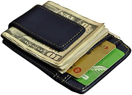 Must-have Selling Men's Genuine Leather Money Clip Front Pocket Wallet with Magnet Clip and Card Id Case