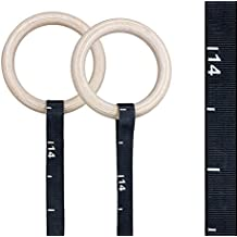Rep Wood Gymnastic Rings with Numbered or Plain Heavy Duty Adjustable Straps - Perfect for Cross-Training Workouts, Gymnastics and Conditioning