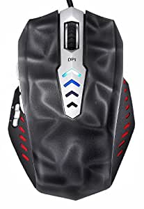 Perixx MX-3000B, Programmable Gaming Laser Mouse - Avago 8200dpi ADNS 9800 Laser Sensor - Omron Micro Switches - 8 Programmable Button - Weight Tuning Cartridge - Ultra Polling 125-1000HZ - Black
