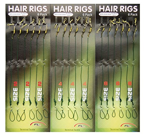 JSHANMEI Carp Fishing Leader Hair Rigs with Coated Line Wide Gape Hooks Boilies Carp Rigs Lure Connector Size 2# 4# 6# (Pack of 18)