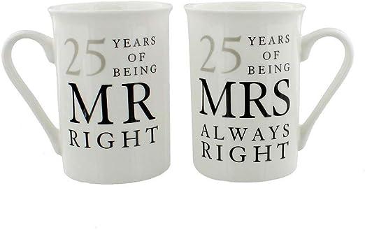 Happy Homewares Ivory 50th Anniversary Mr Right  Mrs Always Right Mug Gift Set