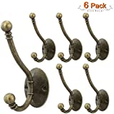Arks Royal Premium Modern Double Coat Hat Hook Retro Wall Mounted Decorative Cloth Hanger with Ball Tips, for Bathroom, Restroom, Kitchen, Garage, Office, 6 Pack (Oil Rubbed Bronze)