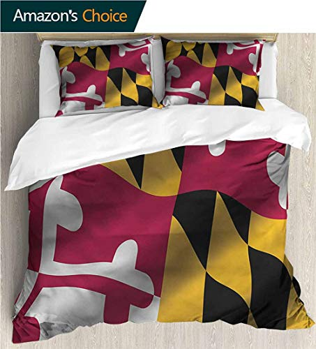 VROSELV-HOME 3D Bedding Quilt Set,Box Stitched,Soft,Breathable,Hypoallergenic,Fade Resistant Reversible Coverlet,Bedspread,Gifts for Girls Women-American Maryland Flag Us State (68