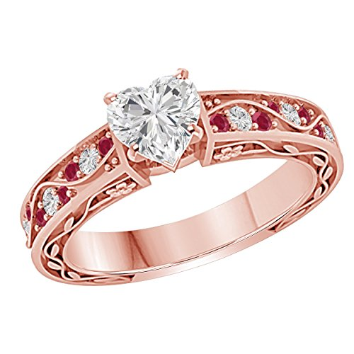 Belle Princess 1.00 CT Heart Shape Simulated CZ Diamond & CZ Red Ruby 18k Rose Gold Over Flower Look Cute Engagement & Wedding Ring ()